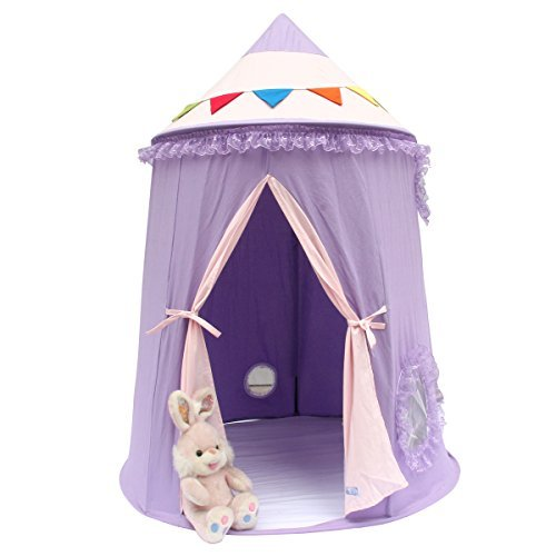Pericross Cotton Canvas Mongolian Yurt Tent Kids Play Tent Outdoor Indoor Gamehouse (Purple)