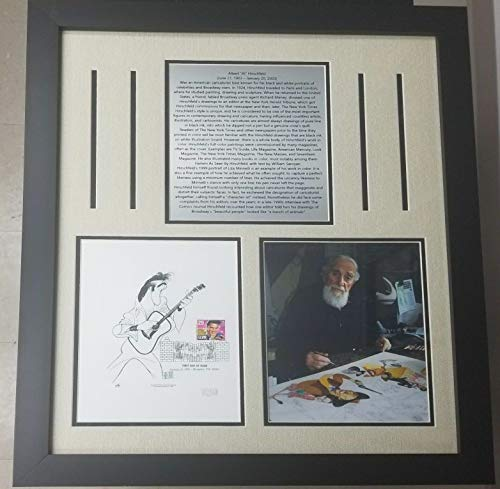 """Caricaturist"" Al Hirschfeld Signed Elvis Presley Sheet Framed JG Autographs from Unknown"