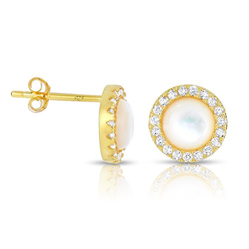 Sterling Silver Mother of Pearl with White CZ Helo Jackets Princess Diana Earrings Yellow Gold Finish