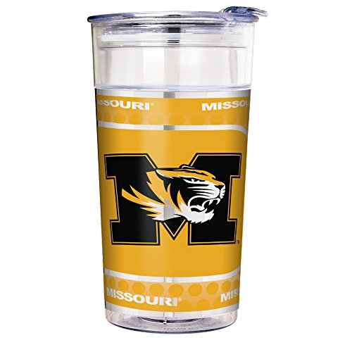 (NCAA Missouri Tigers Double Wall Acrylic Party Cup with Metallic Graphics, 22-Ounce, Clear)