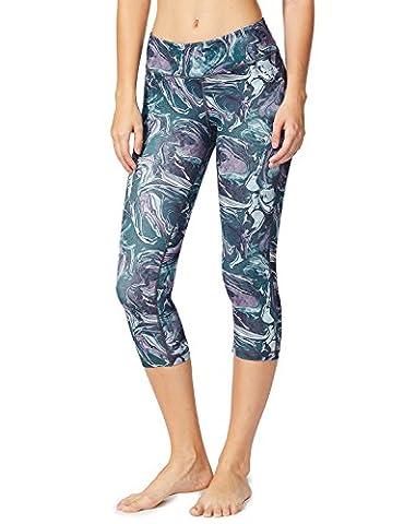 Baleaf Women's Tummy Control Workout Printed Yoga Capri Pants Hidden Pocket Ink Grey Size S - Dyed Cotton Short