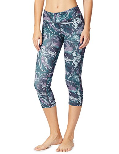 Crop Length Pants (Baleaf Women's Tummy Control Workout Printed Yoga Capri Pants Hidden Pocket Ink Grey Size S)