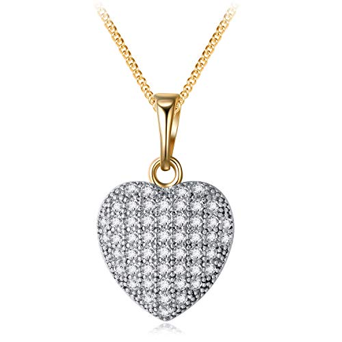 YHLISO 18K Gold Plated Diamond Love Heart Pendant Pave Cluster Crystal Heart Mother Necklace for Women ()