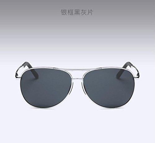 soleil lunettes l'air frame sheet soleil spécifiques conduite de LSHGYJ Silver lunettes de pilote de gray Glsyj HD Miroir Polariseur black hommes crapaud l'armée twHqwxPYBI