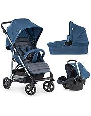 Hauck Rapid 4 Plus Trio Set 3 i 1 Barnvagn Set upp till 25 kg, isofix-aktiverad babyskål, babybadkar med madrass från födseln, höjdjusterbart handtag, liten vikbar, lätt
