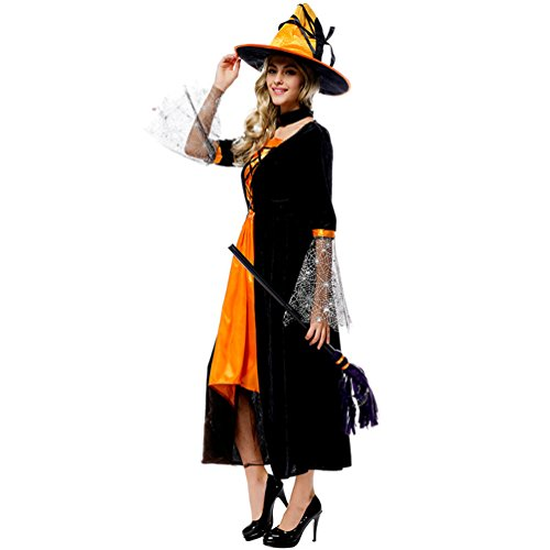 [Lyn Home Women's Sexy Halloween Basic Witch Costume Dress with Hat & Spider Web Sleeves, Orange, Size One Size, suitable for US Women 4-14] (Pumpkin Carving Templates Free Printable)