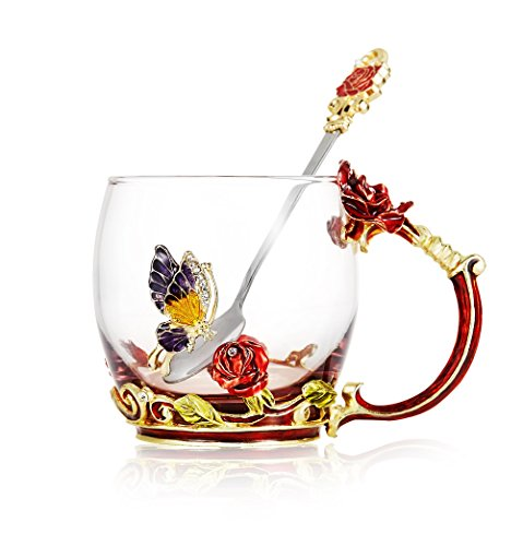 Coffee Clear Glass Handmade Butterfly