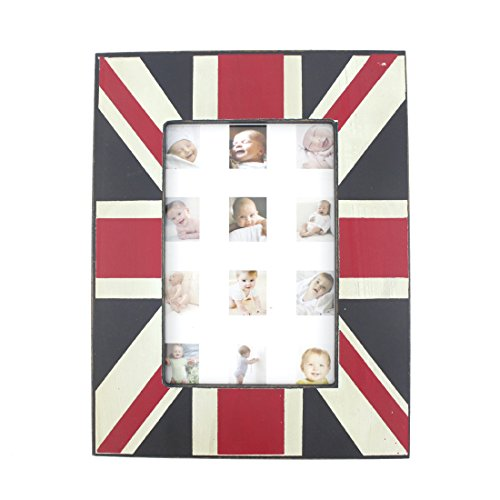 Wood Table Top UK National Flag Theme Family Picture Photo Frame with Glass Front for Home Decor - London Frames