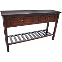 D-ART COLLECTION Mahogany Texas Console Table with 2 Drawers