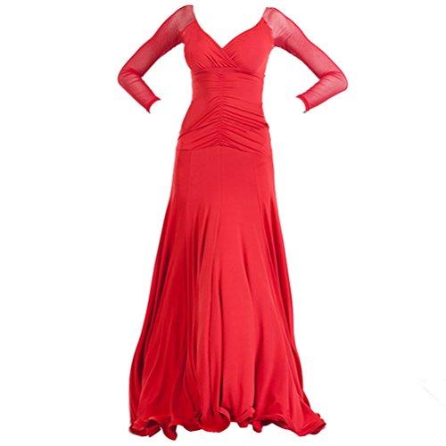 Danse Wqwlf Performance l Longues Robes De Valzer Bal Manches Vêtements Moderne Standard Royalblue Femmes Ballroom À Pratique xXrr1wqI