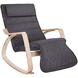 SONGMICS Relax Rocking Chair/Lounge Chair/Recliners/Gliders with 5-way Adjustable Footrest, Natural Frame with Grey Cushion ULYY42GY