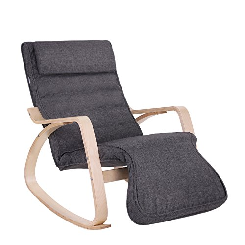 SONGMICS ULYY40GY Relax Rocking Lounge Chair/Recliners/Gliders with 5-Way Adjustable Footrest, Natural Frame with Grey Cushion ULYY42GY, 45.3