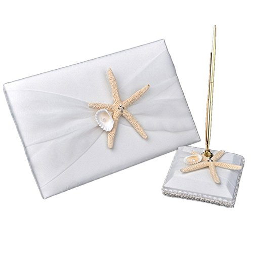 2Pcs Wedding Guest Book Pen and Stand Set, Celebration Wedding Guest Book and Pen Set, Ribbon Bowknot Beach Theme Starfish Seashell Guest Book with Pen & Holder, Wedding Baby Shower Party Favor (Flower Pen Wedding Shower Favors)