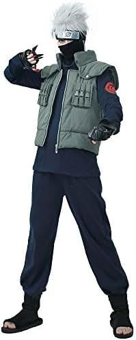 Miccostumes Men's Fullset for Kakashi Hatake Cosplay Outfit (Men l) Dark Blue