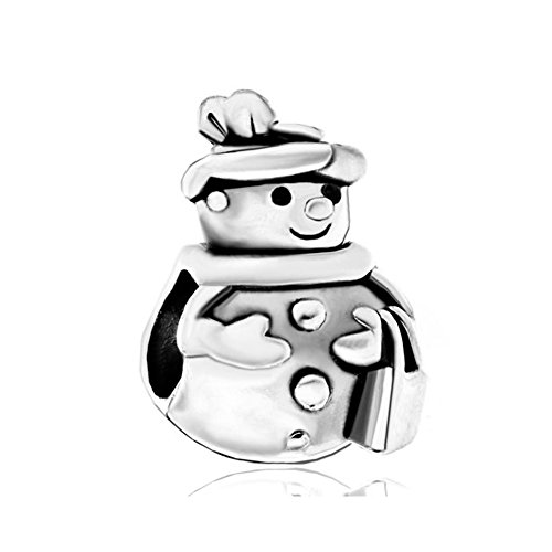 (Q&Charms Christmas Gift Snowman European Bead Sale Cheap Charms Fit Pandora Chamilia Charm Bracelet)