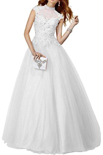 La Weiß Damen Abschlussballkleider Rock Abendkleider Langes Linie Spitze A Marie Braut Prinzess Brautmutterkleider 44wBqTrA