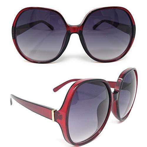 Replica Sunglasses Brown (SunMod - Women Retro Oversized Round Neutral Colored Lens Elegant Style Sunglasses (Redish Brown frame/Grey Gradient Lens))