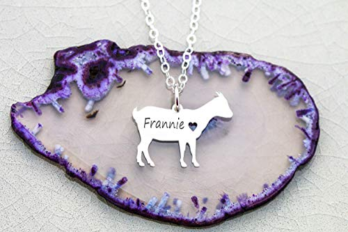 - Farm Goat Necklace - IBD - Billy Fainting Funny Stubborn Gift - Personalized Name Date - Pendant Size Options - 935 Sterling Silver 14K Rose Gold Filled