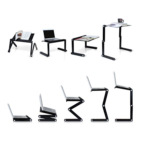 Pwr+ Portable Adjustable Aluminum Laptop Desk-Stand-Table Vented Mount-Notebook-Macbook-Light Weight Mobile Ergonomic Folding TV Bed Recliner Lap Tray Standing Up/Sitting-Black by PWR+ (Image #3)