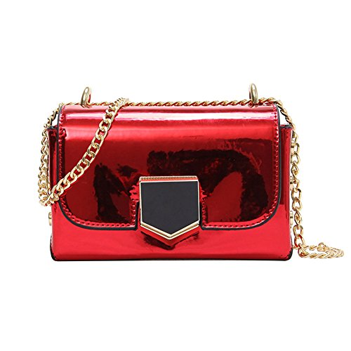 ZCM Kette Schulter Messenger Bag Damen Lackleder Bright Lock Kleine quadratische Tasche - 4 Farben Optional Rot