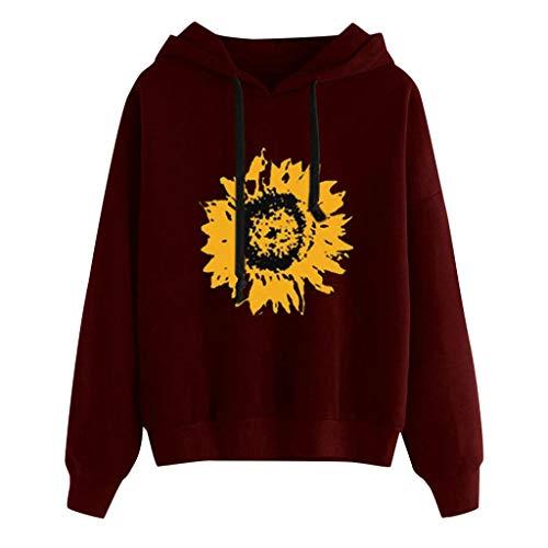 Mayunn Womens Sunflower Print Long Sleeve Hoodie Sweatshirt Hooded Pullover Tops Blouse