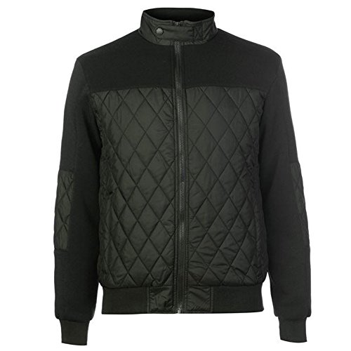 Pierre Cardin Mens Lightweight Diamond Quilted Bomber Jacket with Fleece Trim (Large, Khaki)