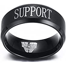 Stainless Steel League of Legends LOL Rings,Top Jungle Adc Mid Support Engraved,Black