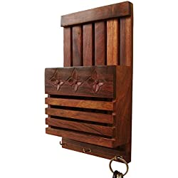 SAAGA Wooden Wall Letter Rack and Key Holder Wall Hanging / Handmade : 6x2x10 inches (LxBxH)