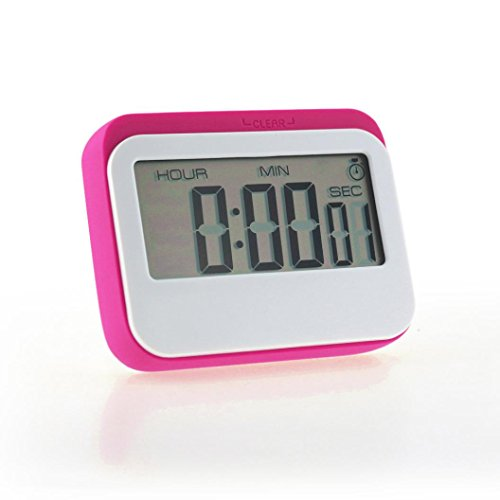 Hunpta Portable Digital Countdown Timer Clock Large LCD Screen Alarm for Kitchen Cook (Hot Pink)