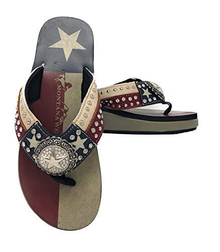 Montana West Ladies Flip Flops Texas Lone Star Flag Navy Blue, 11 M US