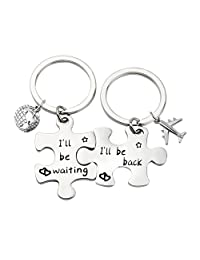 MAOFAED Puzzle Keychain Couples Set Long Distance Relationships Gifts for Couples I'll Be Back I'll Be Waiting Love Friendship Gift