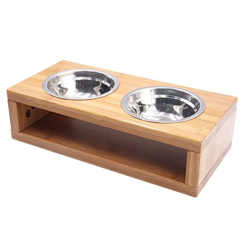 Elevated Dog Feeding Bowl with Wood Stand , Blue Hole Rem...
