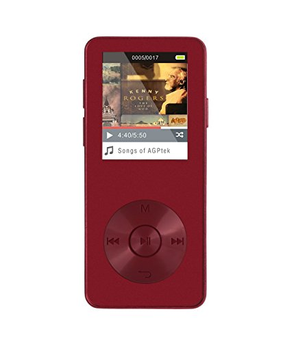 """Price comparison product image AGPtEK M08 8GB MP3 Player , 1.8"""" OLED Screen,  Metal body,  Lossless Music Player,  30 hours Playback,  with HD Headphone and Adjustable Sport Armband,  Wine Red"""