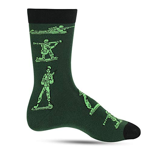 Crazy Socks For Men: Mens Funny Dress Socks: Novelty Crazy Cool & Funky Fathers Day Colorful Sock: Nerd Geek & Science (Army Guy)]()