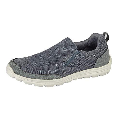 Dek Tyne Mens Denim Canvas Slip On Shoes Navy