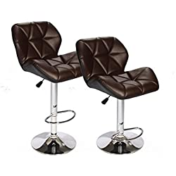 BestOffice SET of (2) Brown Bar Stools Leather Modern Hydraulic Swivel Dinning Chair BarstoolsB01