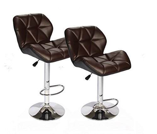 Bestoffice Set Of 2 Brown Bar Stools Leather Modern Hydraulic Swivel Dinning Chair Barstoolsb01 Stools