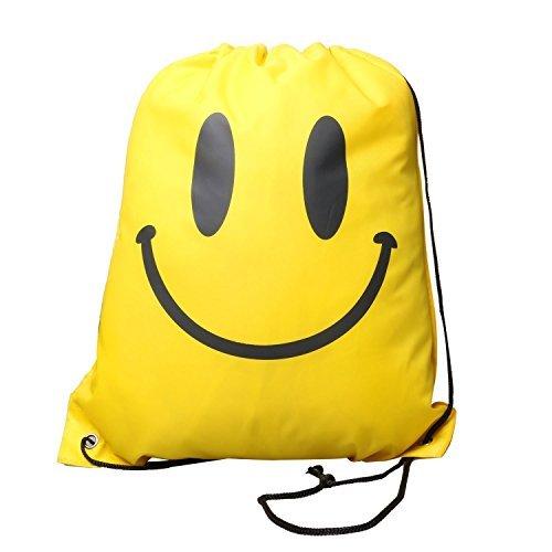 WNOSH Drawstring Backpack School Shoulder Bag Waterproof Beach Swimming Bag Pouch (yellow smiless)