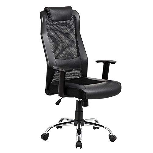 KADIRYA High Back Mesh Office Chair – Ergonomic Computer Desk Task Executive Chair with Padded Leather Headrest and Seat, Adjustable Armrests, Black