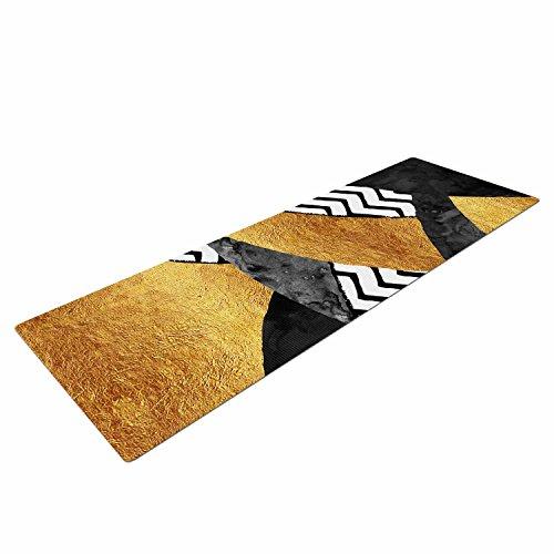 Kess InHouse Zara Martina Mansen Chevron Hills Yoga Exercise Mat, 72″ x 24″, Gold/Black/White Review