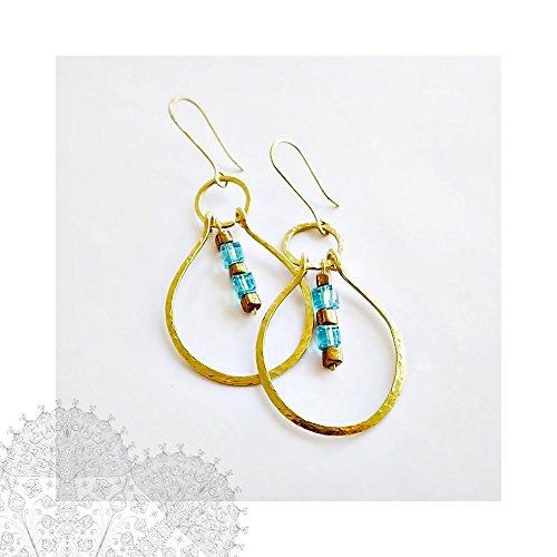 Hammered Gold Hoop Earrings Solid Gold Brass Oval Dangle Hoop 16 gauge Wire Jewelry ()