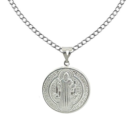 - Ritastephens Sterling Silver San Benito St Saint Benedict Medallion Medal 20mm Charm Curb Necklace 24 Inches