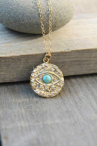 (Evil eye Turquoise necklace, Eye of protection coin pendant medallion, 14K Gold Filled chain, cubic zirconia, cz diamonds, good luck, talisman)