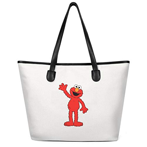 14 Inchs X 6 Inchs X 12.5 Inchs Cute-red-sesame-elmo-muppet-street-Milky Zipper Top Cotton Canvas Shopping Tote Bag for Mens Womens Classic Gym