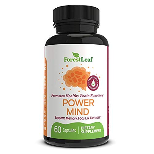 Power Mind Brain Function Booster - Supports and Boosts Memory, Focus, Alertness and Mental Performance - Daily Vitamin Nootropic Supplement for Adults - 60 Capsules - by ForestLeaf
