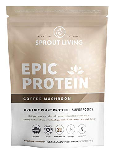 Sprout Living Epic Protein Powder, Coffee Mushroom Flavor, Organic Plant Protein, Gluten Free, No Additives, 20 Grams Protein, Adaptogenic Mushrooms 1.1 Pound,13 Servings