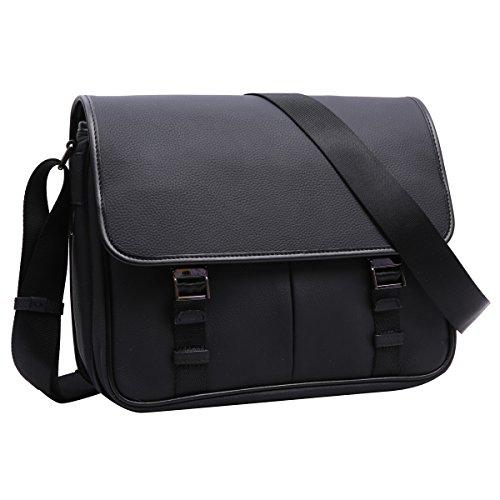 Leathario bolso bandolera para hombres de estilo clásico con La primera capa de cuero para diario viaje o trabajo. negro