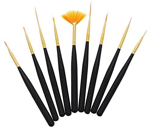 9 Pc Kit Nail Art Designs Painting Pen Brush Polish Dotting Drawing Manicure Pedicure DIY Tool Set Detailing Spotting Liner Striper Blending Beauty Care Makeup 9 Pc Set - 4.80