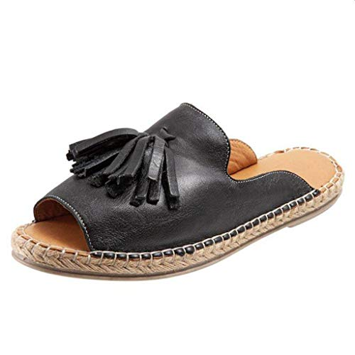 Sunhusing Ladies Solid Color Open Toe Shallow Mouth Slippers Casual Tassel Decor Fish Mouth Slip On Slippers Black