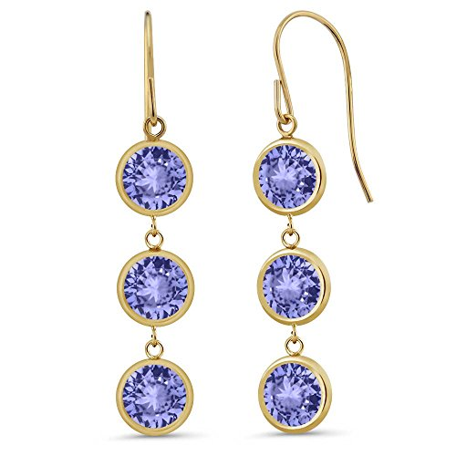 Gem Stone King 2.76 Ct 3 Round Blue Tanzanite Stones 14K Yellow Gold Bezel 1inches Dangle Earrings